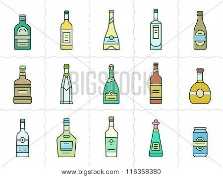 Different types of alcohol. Vector icons of alcohol bottles. Linear style