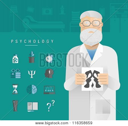 Adult Men In A White Coat Psychologist.