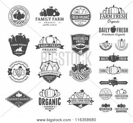 Fruits And Vegetables Logo, Labels, Fruits And Vegetables Icons And Design Elements