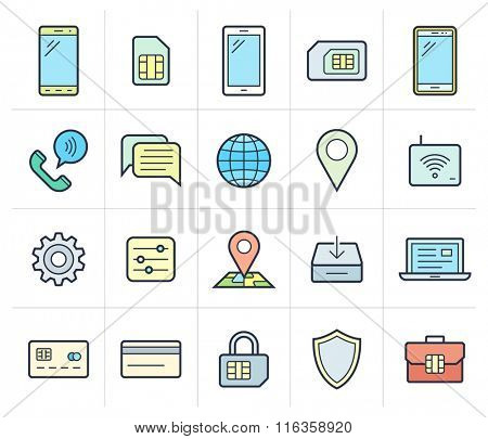 Mobile network operator icons. Vector icons for cellular company