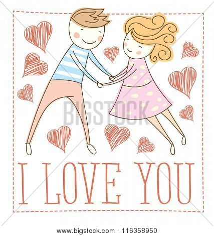 Vector couple fall In love. Valentine day concept