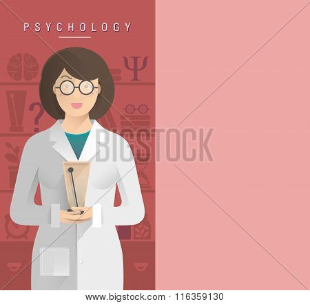 Women Psychologist In Glasses.
