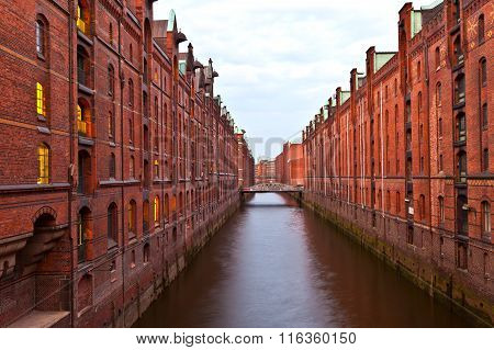 famous Speicherstadt in Hamburg, Germany by night