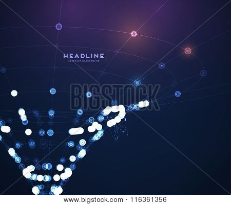 Abstract Shape of Particles Array. Technology Digital Concept for Business Design, Covers and Presentation Backgrounds.