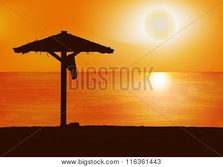Sunset on the beach. Travel Colorful vector background.