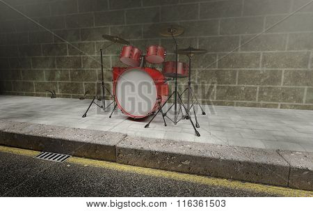 Grunge Red Drum Set