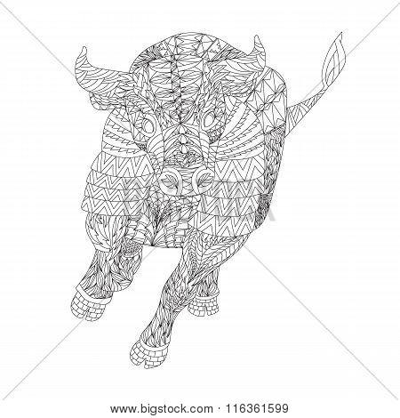 Patterned Bull Zentangle Style
