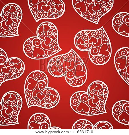 Valentine's Day Seamless Pattern With Fishnet Hearts
