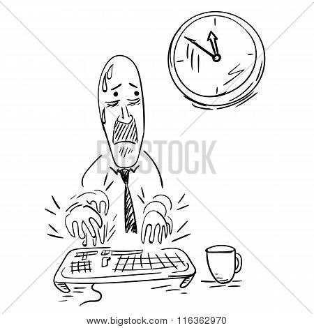 Office worker trying to meet his deadline