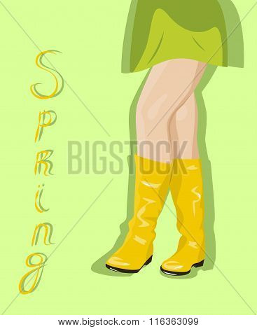 Female Legs In Yellow Boots
