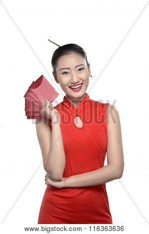 Chinese Woman In Red Cheongsam Dress
