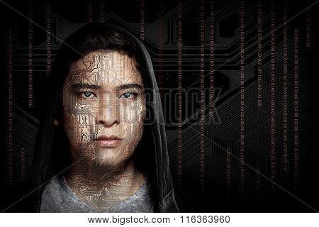Hacker Wearing Hoodie Shirt