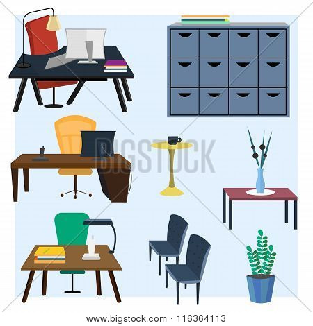 Set of office furniture for interior