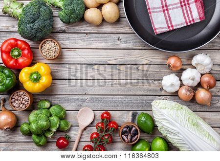 Various Vegetables Fruits And Herbs With A Frying Pan