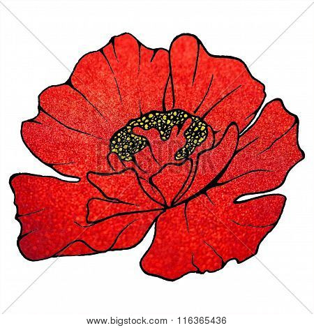 Red scarlet metal glitter surface poppy blurred background texture