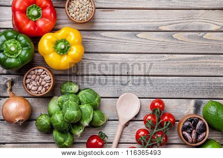 Various Raw Vegetables Fruits And Herbs