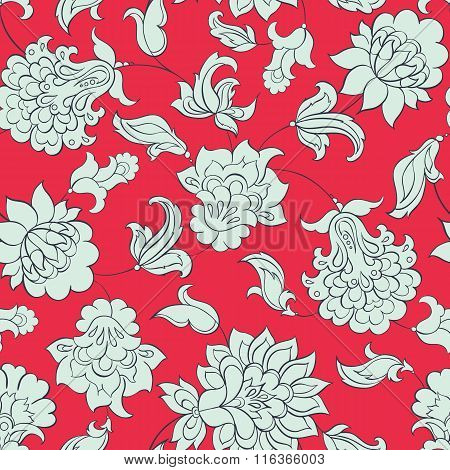 floral ethnic seamless pattern in batik style