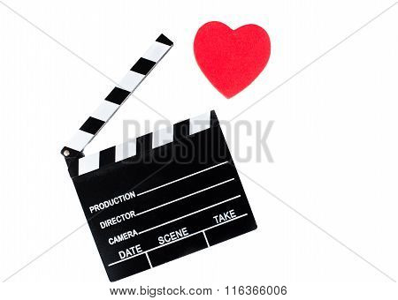 Movie Clapper Board And Red Heart Isolated