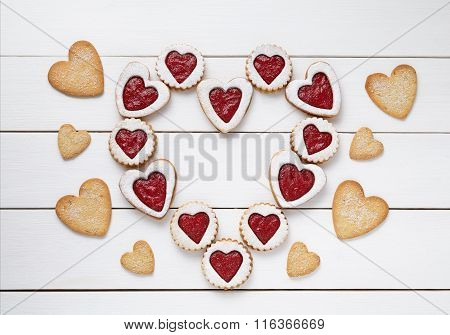 Heart of the shortbread heart-shaped cookies with jam Valentines Day composition