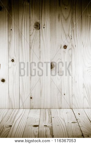 Wood Background, Pine Wood Background In Vertical And Horizontal Plane With Vignette.