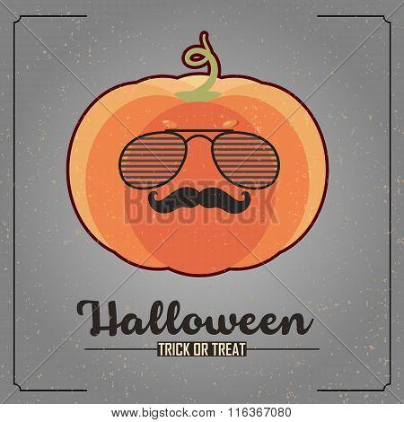hipster pumpkin character