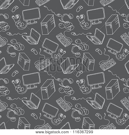 A vector seamless pattern of hand drawn doodles of electronic gadgets