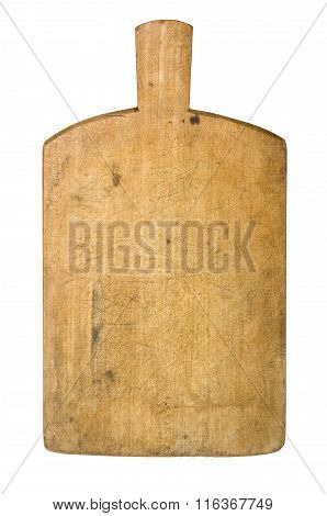 Old Rustic Wooden Kitchen Board On A White Background