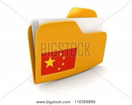 folder and lists with Chinese Flag. Image with clipping path
