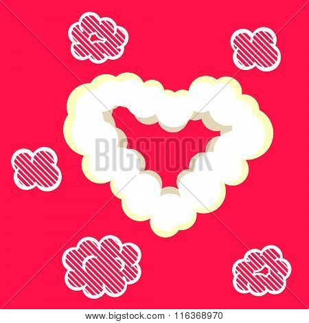 Heart Cloud Valentine Card Template.