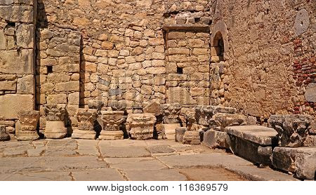 Church of St. Nicholas. Demre, Turkey. Architectural elements are represented in the church yard.