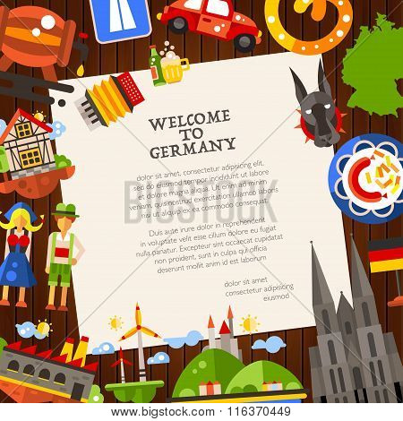 Germany travel postcard template with famous German symbols