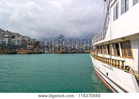 alanya, Turkey - May 1, 2015: Harbor of Alanya