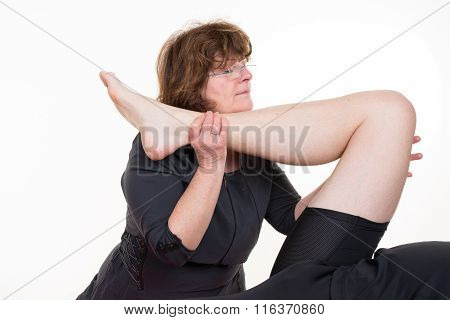 Physical Therapist Giving A Leg Massage In A Health Center