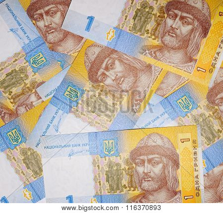 Textured background currency ukrainian banknotes