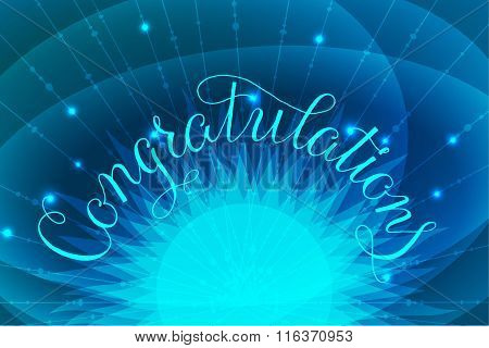 Congratulations lettering illustration hand written design on blue background with glowing letters a