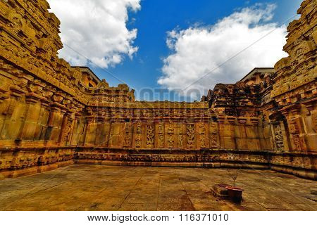 Ancient temple walls decorated with artistic sculptor work of various Hindu deities