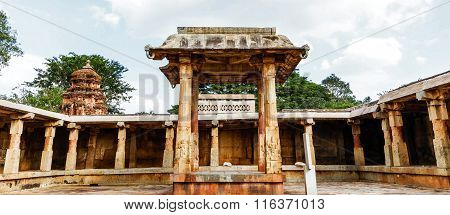 CHIKKABALLAPUR, Karnataka/India JANUARY 16TH, 2016: Nritya mandap inside Bhoga Nandeeshwara temple