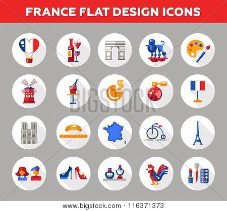 France travel icons and elements with famous French symbols