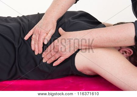 Patient At The Physiotherapy Gets Massage Lymphatic Drainage