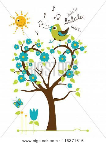 Singing Bird On The Tree.