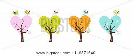 Four Season Trees With  Birds.