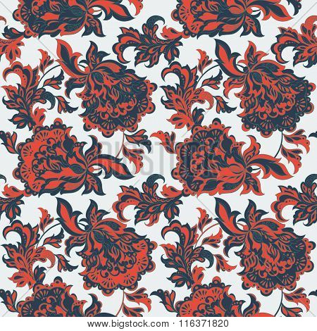 ethnic floral seamless pattern. folkloric batik vector ornament.