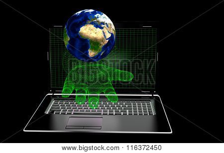 hand, computer screen on a black background, elements presented NASA