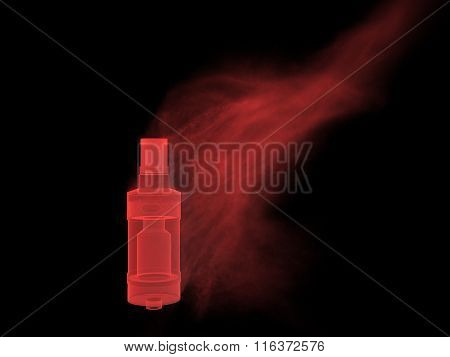 Vaping atomizer with colored red vape