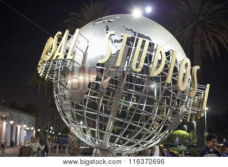 Hollywood- Usa, July 16, 2014: Universal Studios Sign At Night Seen At Universal Studios In Los Ange