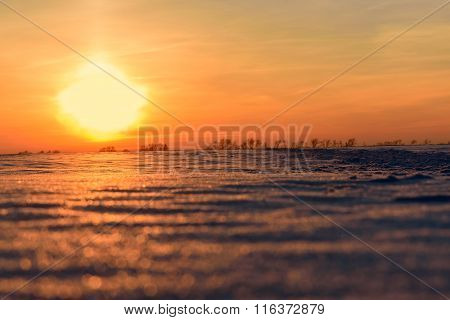 Sunset Snow Field Sun Sky