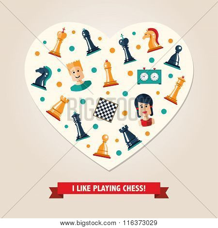 Heart postcard with flat design chess and players icons