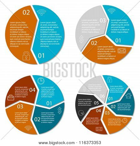 Set of round infographic diagram. Circles of 2, 3, 4, 6 options