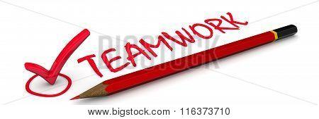 Teamwork. The red mark