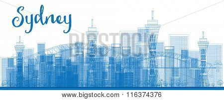 Abstract Outline Sydney City skyline with skyscrapers. Vector illustration. Business travel and tourism concept with modern buildings. Image for presentation, banner, placard and web site.